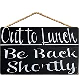 Out to Lunch Be Back Shortly, Dining Break Room,Food Kitchen,Office Work,Wood Sign,Business Sign 8x12 inch / 20x30 cm
