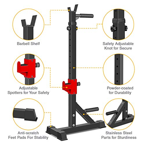 AKYEN Adjustable Squat Rack Stand, Barbell Rack, Dip Bar Station Adjustable Bench Press Rack 850LBS Max Load Multi-Function Weight Lifting Home Gym (2021 Version)