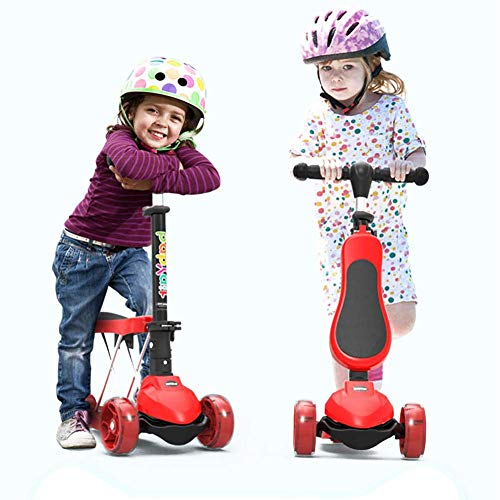 3 wielen voor scooter met afneembare zitting, 3-in-1, Vespa met verstelbare zitting voor kinderen van 2-15, in hoogte verstelbaar, pedalen: 176,37lbs