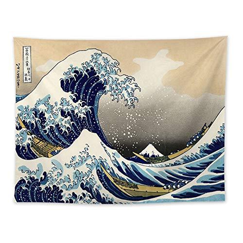 Dekor Wandteppich Wandtuch Meereswelle Tapisserie Tagesdecke, Meereswelle Wandbehang Wandtuch Gobelin Tapestry Dekotuch Meditation Yogamatte Japanischer Stil für Schlafzimmer Wohnzimmer 140 x 130 cm
