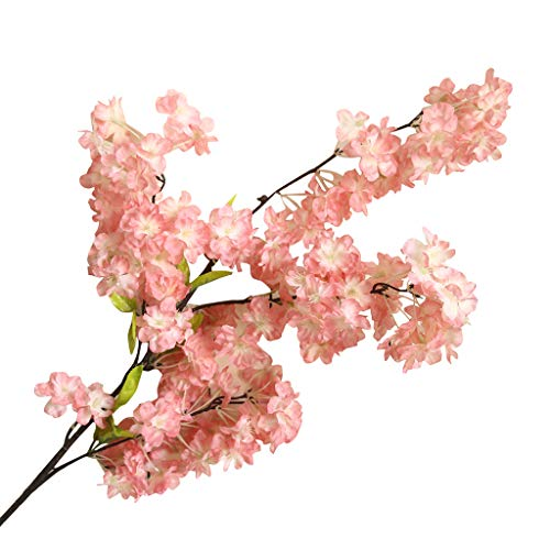 Artificial Fake Bonsai Flower Cherry Blossom Artificial Flower Bouquet Wedding Bouquet Fake Flowers Bouquet for DIY Home Hotel Party Garden Office Floral Decor (C)