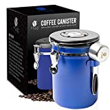 Bean Envy Airtight Coffee Canister - LARGE 22.5 oz - Includes Stainless Steel Scoop & Integrated Silicone Base - Sealed Cantilever Lid - Co2 Gas Release Wicovalve & Numerical Day/Month Tracker – Blue