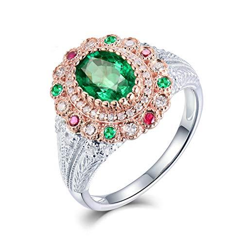 AnazoZ Anillo Esmeralda Mujer,Anillos de Mujer de Oro Blanco 18K Plata Verde Rectángulo con Corazón Esmeralda Verde 1.2ct Diamante 0.35ct Talla 25