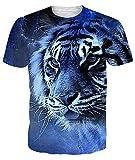 uideazone Camiseta de manga corta para hombre con impresión 3D, deportiva, cuello redondo, estampada, desenfadada, talla L, tigre (Tiger)