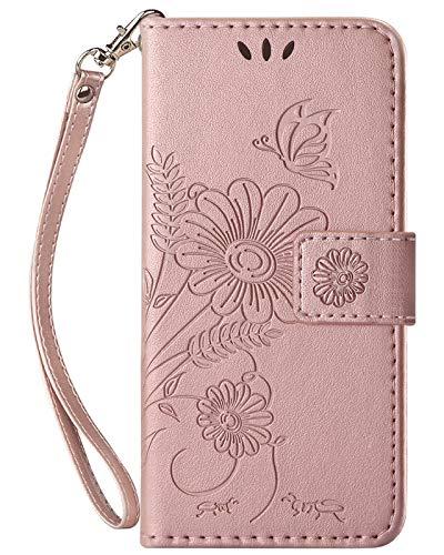 kazineer Handyhülle Kompatibel mit Xiaomi Mi Note 10 Lite Hülle, Leder Tasche Schutzhülle Blumenmuster Etui für Xiaomi Mi Note 10 Lite (Rose Gold)