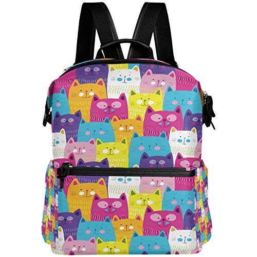 Oarencol - Mochila de gato colorido y divertido, diseño de gatitos de animales