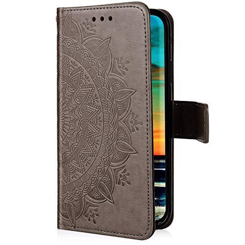 Uposao Samsung Galaxy J4 Plus 2018 Coque en Cuir PU,Mandala Fleur Motif Clapet Flip Cover Case Wallet Coque Pochette Portefeuille Etui a Rabat Magnétique Porte-Carte Housse de Protection,Gris