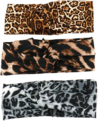 Diadema Animal Print, Diadema de Mujer, Cinta pelo elástica mujer, Diadema Leopardo Tigre Cebra, estampado animal, Turbante, Banda ancha cabello, Nudo cruzado, Yoga Niña, Verano Invierno, 3 PACK