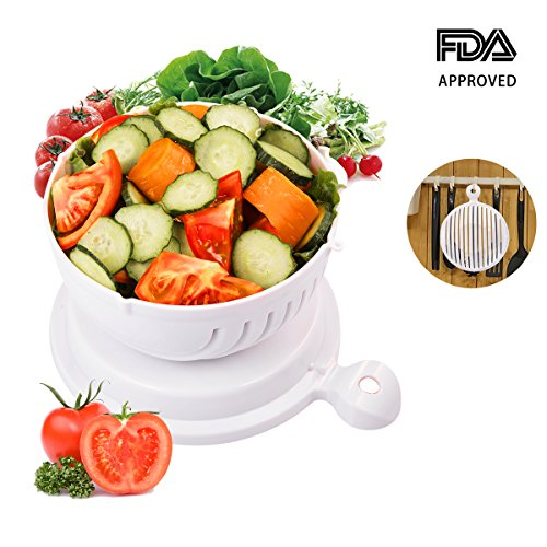 Salad Cutter Bowl, Vegetable Salad Chopper, Salad Cutter Strainer, 60 Seconds Salad Maker Vegetable Cutter Bowl, T-Easy Practical Fast and Easy to Slice (White)