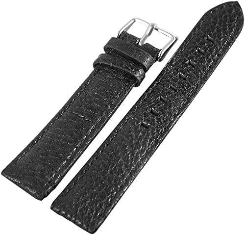 LEONARDO VERRELLI-Uhrenarmband Ersatz Echt Leder Dornschließe Breite 18-24 mm (Stegbreite: 20 mm, schwarz)