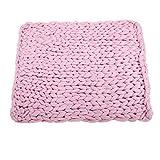 Fdit 100% Coton Doux Couverture de canapé canapé Couverture de Jet, canapé Courtepointe tricoté Chunky Plush canapé canapé Blanket Chaud Doux Super Grand volumineux(19#-Rose)
