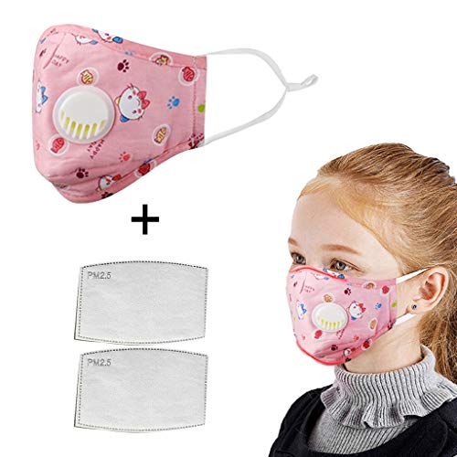 Save %50 Now! Children Face Bandanas with Breathing Valve + Activated Carbon Filter Replaceable, Kid...