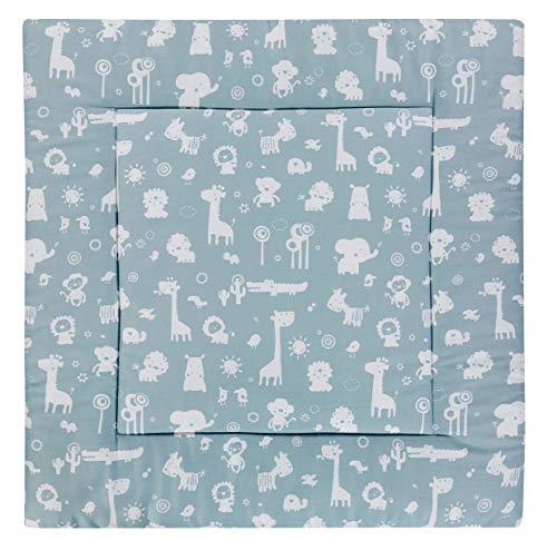 Alvi Krabbeldecke 120x120 cm Exclusiv | groß und gepolsterte Babydecke als Spieldecke & Laufgittereinlage | weich für Kinder, Design:Zootiere puderblau