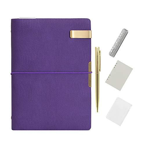Wonderpool Carpeta de anillas de cuero para diario, cuaderno de papel recargable con forro de escritura, 6 anillos con blocs de notas para viajes de oficina y agenda de planes (b-Púrpura,A5)