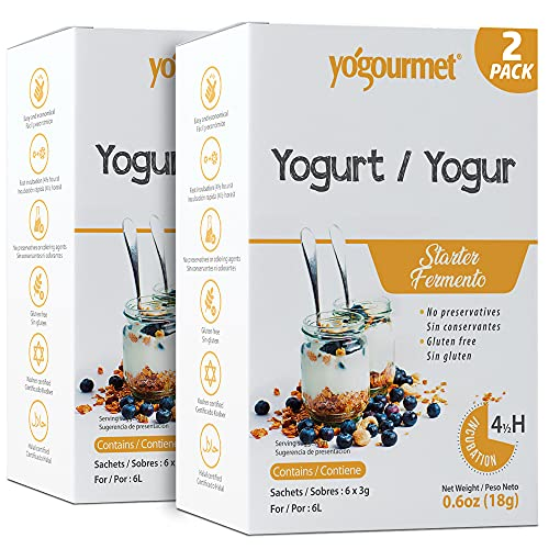 Yo Gourmet Freeze Dried Yogurt Starter - 1 Box Containing 6 Each 5 Gram Packets - PACK OF 2