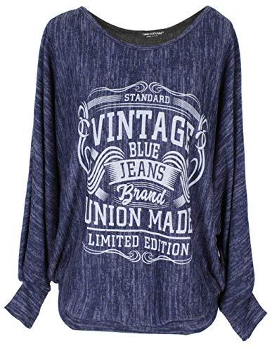 Emma & Giovanni - Pullover/Sweatshirt Vintage Loose Fit - Damen (Blau, M-L)