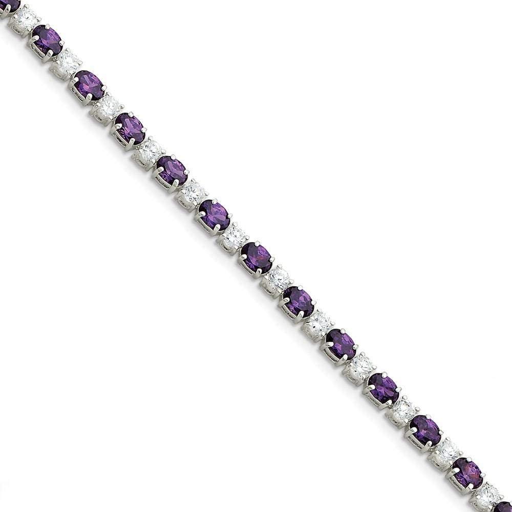 Max 57% OFF Silver Polish Finish Fashion Purple Bracelet Zirconia Cubic Clear