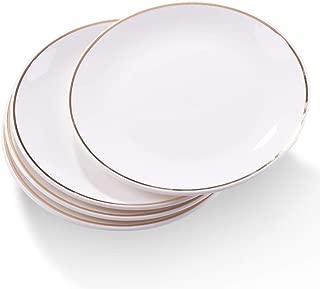 Ceramic Dinner Plates set of 4, 8 Inch, Gilt Ceramic Plates, Serving for Dishes, Salads, Snacks, Pasta …