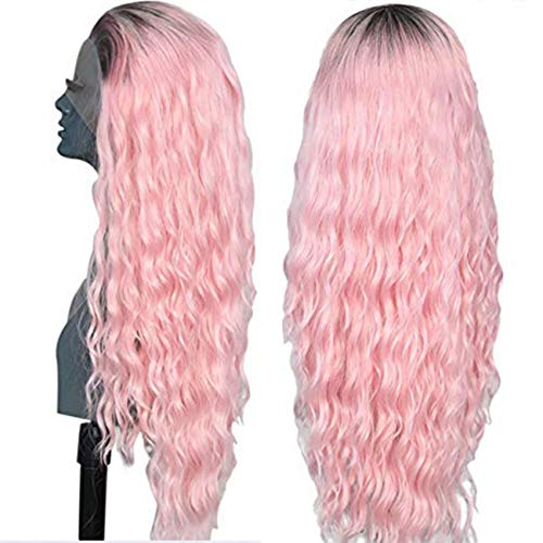 Ebingoo 26 inches Pink lace front wigs for white women pink wig pink curly wigs with Natural Long pink Wave curly Synthetic lace Front Wigs