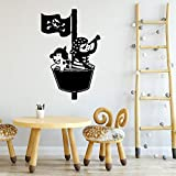 BailongXiao Cute Lovely Pirate Art Stickers Pegatinas de Pared a Prueba de Agua Pegatinas de Pared para Habitaciones de niños calcomanías de Vinilo 54x86cm
