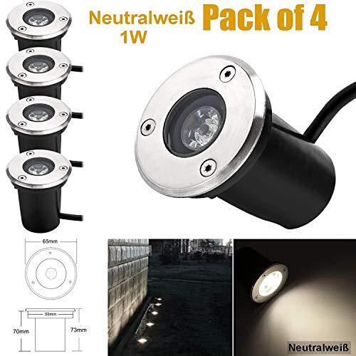 1W LED Bodeneinbaustrahler, 230V AC IP67 90Lumen 45° Gartenbeleuchtung Lampe Aussen Neutralweiß 4200K Rund für Wegbeleuchtung Garten Terrasse Treppen Edelstahl Bodenleuchte