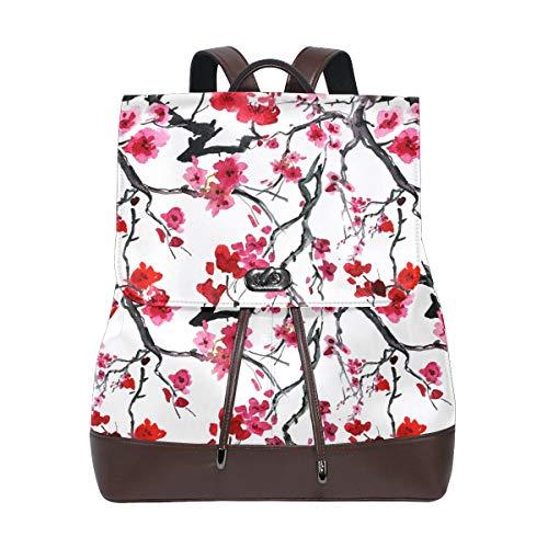 Ahomy Damen Fashion PU Leder Rucksack Japanischer Stil Kirschblüten Anti-Diebstahl Rucksack Schultertasche