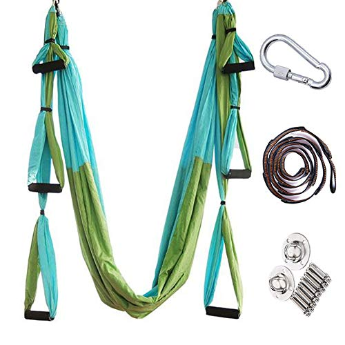 Review ZHYJJ Yoga Hammock Antigravity Ceiling Hanging Inversion Trapeze Yoga Sling for Pilates Gymna...