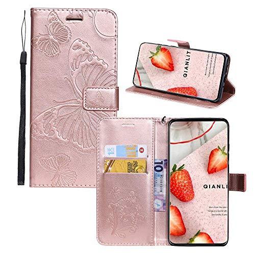 JZ Embossed 3D Butterfly Flip Cover for per LG K40/K12 Plus Protective Phone Wallet Custodia [Magnetic & Wrist Strap] - Rose Gold