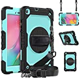 Galaxy Tab A 8.0 Case for Kids with Pen Holder | Rugged Case with Screen Protector | Blosomeet Heavy Duty Shockproof Case for Samsung Galaxy Tab A 8.0 2019 Model SM-T290/T295/T297 | Light Blue