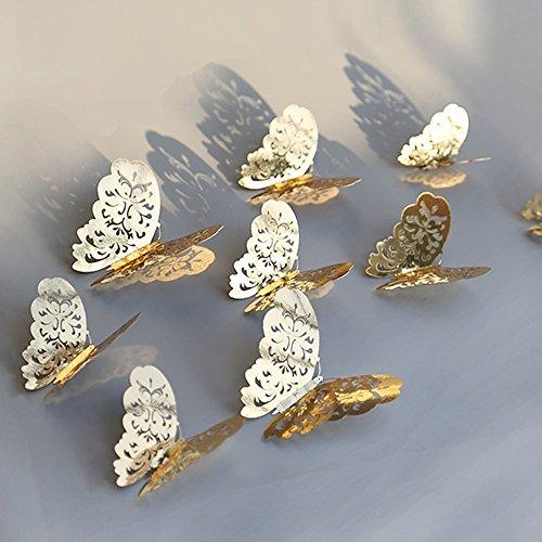 Berrose-12 Stücke 3D Hohlwandaufkleber Schmetterling Kühlschrank für Heimtextilien Neu- wandtattoos Neu Wandtattoo Wandaufkleber Sticker Wanddeko Schlafzimmer Wohnzimmer