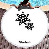 Hancal Toallas de Playa Redondas Toalla de Playa Divertida, Icono de Estrella de mar Aislado sobre Fondo Blanco Logo Concepto Signo Transparente Relleno Negro símbolo 59 '