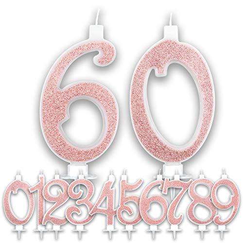Candeline Grandi Compleanno 60 anni Rosa Gold Glitter | Numeri brillanti per Torta Festa Birthday Donna | Decorazioni Candele Topper Auguri Anniversario Torta | Altezza 13 CM (60 Anni)