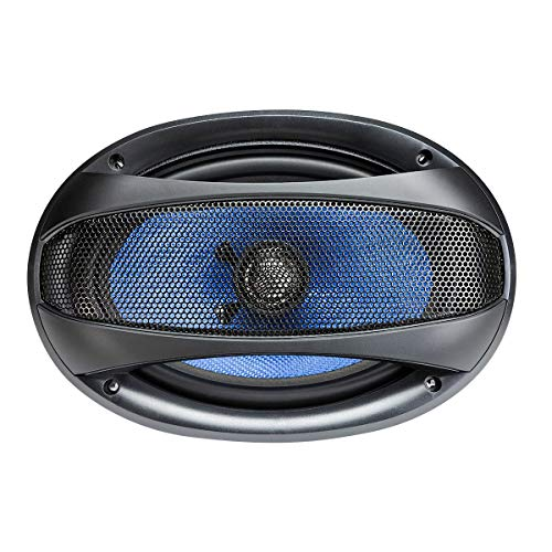 Hifonics Alpha HA69CX – 6 X 9 Inch 2 Way Coaxial Car Speakers, 400 Watt Max, Black and Blue, Aluminum Dome Tweeter, Voice Coil