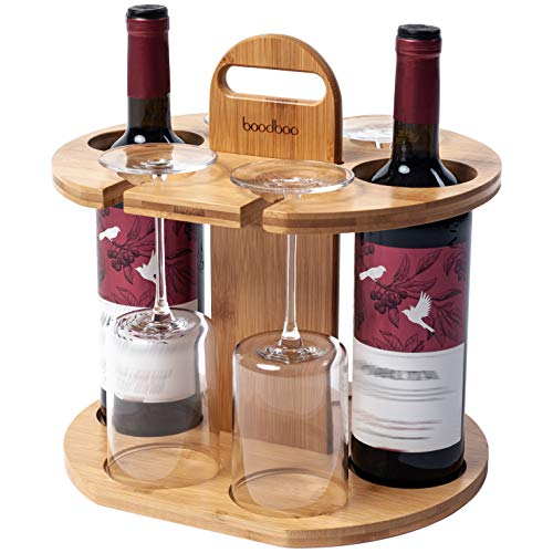 boodboo Wooden Wine Rack – 100% Bamboo Wine Storage Set Holds 2 Bottles and 4 Glasses –...