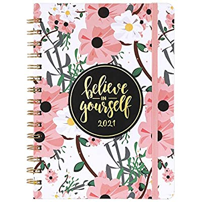 """2021 Planner - Weekly & Monthly Planner 2021 with Tabs, 6.4""""x 8.5"""", Jan 2021 - Dec 2021, Flexible Hardcover, Strong Binding, Thick Paper, Back Pocket, Elastic Closure, Inspirational Quotes"""