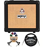 Orange Amps Crush 12-12-Watt Guitar Combo Amplifier (Black) Bundle with Blucoil 10' Straight Instrument Cable (1/4'), 2-Pack of Pedal Patch Cables, and 4-Pack of Celluloid Guitar Picks