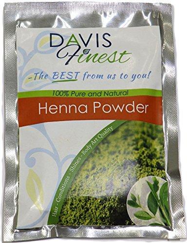 Davis Finest Henna en polvo, pura, natural, hojas, tinte para el pelo, sin PPD ni amoniaco, acondicionador, brillo para un cabello espectacular y un cuero cabelludo saludable y sin caspa, 100 g
