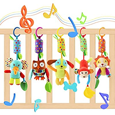 Lanero 5 Packs Baby Toys Pram Pushchair Stroller Cot Toys Infant Bed Crib Attachments Cartoon Animal Hanging Rattle Toddler Toys Soft Flock Fabric with Ringing Bell