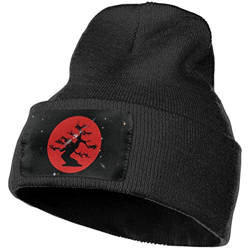 Cgi04T-5 Soft Woolen Cap for Mens and Womens, 100% Acrylic Acid Japanese Bonsai Tree Skull Cap Black