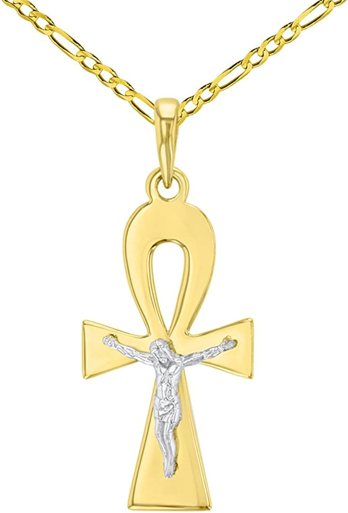 Solid 14K Two-Tone Egyptian Inexpensive Ankh Crucifi Ranking TOP20 Cross Jesus Christ with