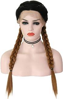 Gradient Long Braid Wig para mujer con parte delantera de encaje sintética Cosplay Party Daily Brown 24 pulgadas