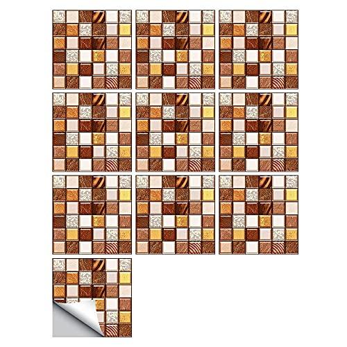 Pegatinas para azulejos de mosaico de color, impermeables, autoadhesivas, retro, cuadradas, para decoración de muebles de cocina, baño, 20 cm x 20 cm x 10 unidades
