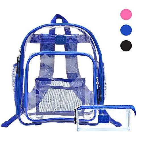 Heavy Duty Clear Backpack, SeeThrough Bookbag, Transparent Work Travel Bag Blue