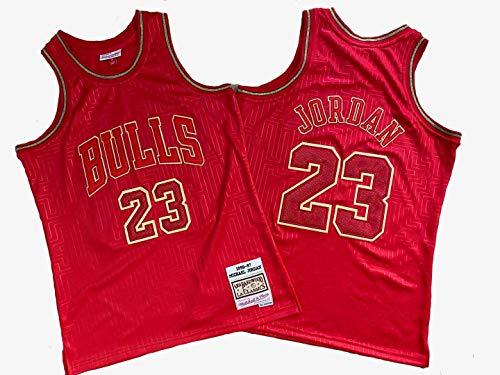 BXWA-Sports Michael Jordan Jersey Bulls NBA # 23 Ropa de Baloncesto Cómodo/Malla/Fresco Bordado Baloncesto Retro sin Mangas Jerseys,L