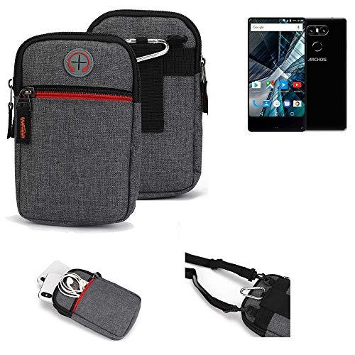 K-S-Trade® Gürtel-Tasche Für Archos Sense 55 S Handy-Tasche Schutz-hülle Grau Zusatzfächer 1x