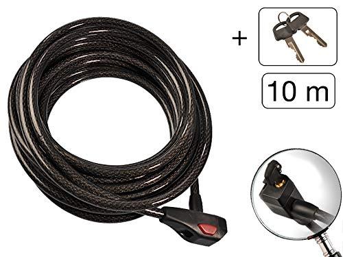 MS-Warenvertrieb Kabelschloss extra Lang Länge: 10m Durchmesser 12 mm Farbe: Grau