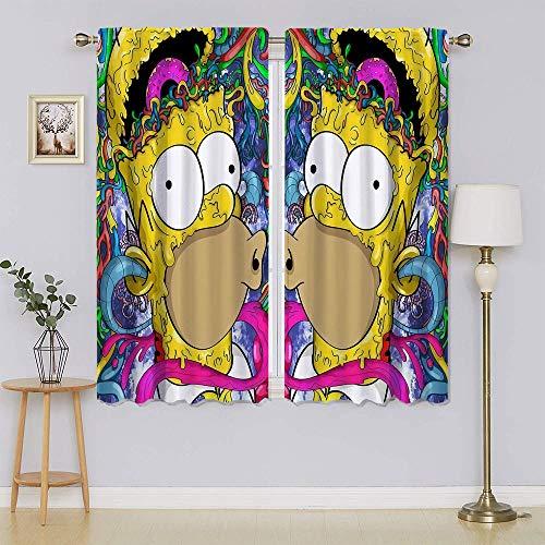 The Simpsons - Cortinas opacas con aislamiento térmico con ojales de ahorro de energía, panel de cortina de bajo consumo adorable y sostenible para sala de estar, dormitorio de 72 x 63 pulgadas
