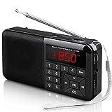 Radio Portátil Pequeña FM Radio de Bolsillo Estéreo Sintonización Digital Radio con Linterna LED, Reproductor de MP3 AUX Micro-SD Pendrive TF Card (No Incluido)