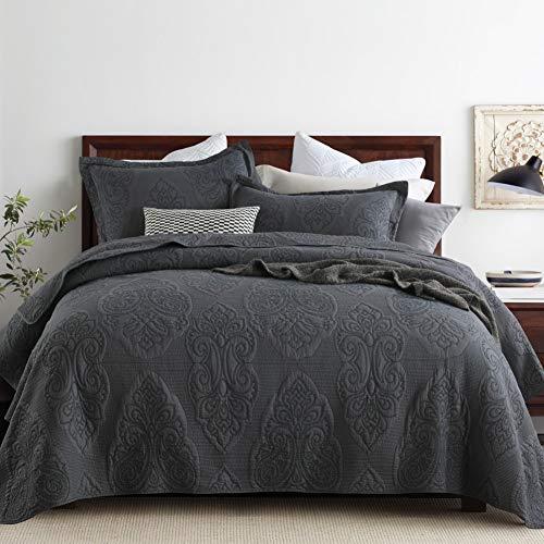 Topmail Tagesdecke Baumwolle Grau Bettüberwurf Patchwork inkl. 1 Steppdecke 230 x 250 cm +2 Kissenbezug 50 x 70cm Atmungsaktive Gesteppte Decke (230 x 250cm)