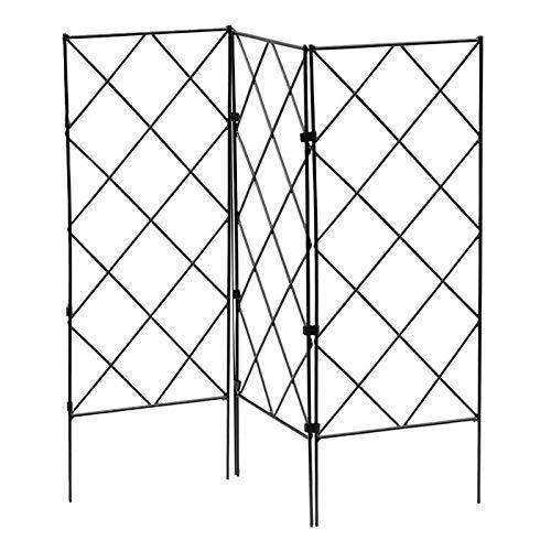 æ— 3 PCS Large Garden Trellis, Black Metal Wire Lattice Grid Trellis Panels for Vines, Climbing Plants, Cucumber and Vegetables, Decorative Fences Flower Support Frame